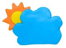 Ηλιόλουστος με κάποιο άργιλο plasticine συμβόλων εικονιδίων πρόγνωσης καιρού σύννεφων Στοκ φωτογραφία με δικαίωμα ελεύθερης χρήσης