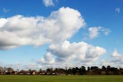 Ηλιόλουστος μπλε ουρανός με τα σύννεφα, δέντρα, πράσινος τομέας, χλόη Στοκ Εικόνα