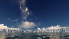 Ηλιόλουστος ουρανός σε μια πόλη ουρανοξυστών ελεύθερη απεικόνιση δικαιώματος