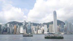 Ηλιόλουστο πορθμείο ημέρας και αστεριών στο Χονγκ Κονγκ απόθεμα βίντεο