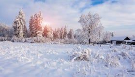 Ηλιόλουστο χειμερινό τοπίο στα βουνά Στοκ φωτογραφίες με δικαίωμα ελεύθερης χρήσης