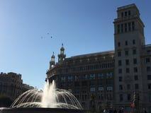 Ηλιόλουστο Placa Catalunya στη Βαρκελώνη Στοκ φωτογραφίες με δικαίωμα ελεύθερης χρήσης