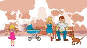 Η ιδανική οικογένεια κινούμενων σχεδίων είναι στο πάρκο απεικόνιση αποθεμάτων