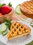 Η κάθετη φέτα του ξινού γλυκού επιδορπίων κέικ πιτών μήλων μεταχειρίζεται Στοκ Φωτογραφίες