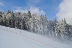 Η κάθοδος από τις κλίσεις σκι στο θέρετρο Bukovel - της Ουκρανίας Χειμερινοί αναψυχή και αθλητισμός Στοκ Εικόνα