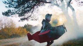 Η κάμερα ακολουθεί λίγο ευτυχές αγόρι αεροπόρων που τρέχει στο δάσος που φορά το κοστούμι αεροπλάνων χαρτονιού με τον καπνό χρώμα απόθεμα βίντεο