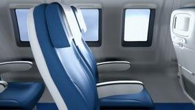 Η κάμερα πετά μετά από τις άδειες θέσεις στη σύγχρονη καμπίνα προς το παράθυρο Το εσωτερικό ενός σύγχρονου αεροσκάφους με ελεύθερη απεικόνιση δικαιώματος