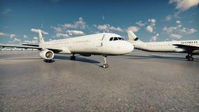 Η κάμερα πετά μετά από τους επιβάτες αεροπλάνου που στέκονται στον αερολιμένα απεικόνιση αποθεμάτων