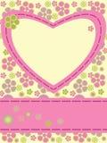 η κάρτα ανθίζει την καρδιά Στοκ εικόνες με δικαίωμα ελεύθερης χρήσης