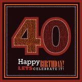 40η κάρτα γενεθλίων, διανυσματικό illustrtaion στοκ φωτογραφία με δικαίωμα ελεύθερης χρήσης