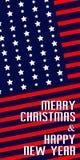 Η κάρτα για τα Χριστούγεννα και το νέο έτος, με τα στοιχεία των ΗΠΑ σημαιοστολίζει Στοκ εικόνα με δικαίωμα ελεύθερης χρήσης