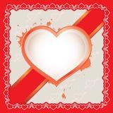 Η κάρτα καρδιών με την κορδέλλα Απεικόνιση αποθεμάτων
