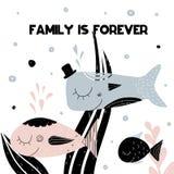 Η κάρτα με τη γράφοντας οικογένεια είναι για πάντα και οικογένεια του χαμόγελου των ψαριών επίσης corel σύρετε το διάνυσμα απεικό απεικόνιση αποθεμάτων