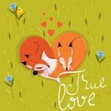 Η κάρτα με χαριτωμένο οι αλεπούδες κοισμένος στη διανυσματική εικόνα λιβαδιών διανυσματική απεικόνιση