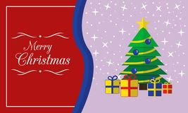 Η κάρτα Χαρούμενα Χριστούγεννας με το δέντρο και παρουσιάζει απεικόνιση αποθεμάτων