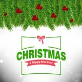 Η κάρτα Χριστουγέννων με βγάζει φύλλα και πλαίσιο κερασιών και τυπογραφικός Στοκ φωτογραφία με δικαίωμα ελεύθερης χρήσης