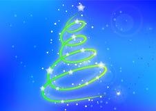 Η κάρτα Χριστουγέννων με το αφηρημένο χριστουγεννιάτικο δέντρο στο λαμπρό υπόβαθρο Στοκ Φωτογραφία