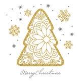 Η κάρτα Χριστουγέννων με χρυσό ακτινοβολεί χριστουγεννιάτικο δέντρο και snowflakes Στοκ Φωτογραφίες