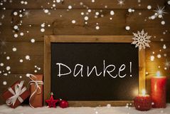 Η κάρτα Χριστουγέννων, πίνακας, Snowflakes, Danke σημαίνει ότι σας ευχαριστήστε Στοκ εικόνες με δικαίωμα ελεύθερης χρήσης