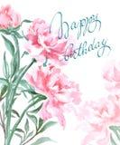Η κάρτα Watercolor γενεθλίων ανθίζει peonies χαιρετισμός καρτών χειρο&p Σύνθεση άνοιξη διανυσματική απεικόνιση