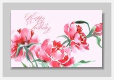 Η κάρτα Watercolor γενεθλίων ανθίζει peonies χαιρετισμός καρτών χειρο&p Σύνθεση άνοιξη ελεύθερη απεικόνιση δικαιώματος