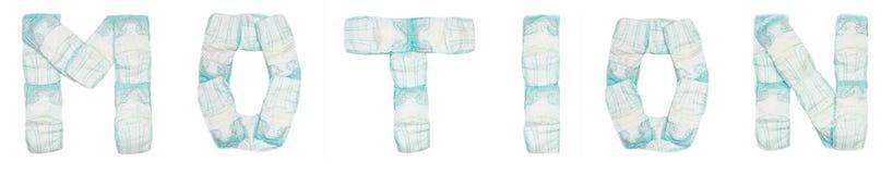 Η κίνηση λέξης σχεδίασε τις πάνες μωρών σε ένα άσπρο υπόβαθρο, απομονώνει, πετσέτα, επιγραφή στοκ φωτογραφία με δικαίωμα ελεύθερης χρήσης