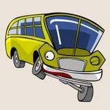 Η κίτρινη διασκέδαση λεωφορείων χαρακτήρα κινουμένων σχεδίων κλείνει το μάτι Στοκ Εικόνες