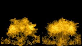 Η κίτρινη πυρκαγιά ξεσπά και εξασθενίζει μακριά, με την άλφα μάσκα διανυσματική απεικόνιση