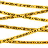Η κίτρινη ταινία σκηνών εγκλήματος, γραμμή αστυνομίας δεν διασχίζει την ταινία Επίπεδος-ύφος κινούμενων σχεδίων Στοκ Εικόνες