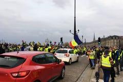 Η κίτρινη φανέλλα διαμαρτύρεται ενάντια στους φόρους αύξησης στη βενζίνη και εισαχθείσα τη diesel κυβέρνηση της Γαλλίας στοκ φωτογραφίες