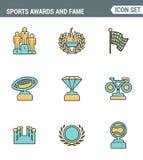 Η καθορισμένη εξαιρετική ποιότητα γραμμών εικονιδίων των βραβείων και η φήμη συμβολίζουν την τιμή αθλητικής νίκης Σύγχρονο εικονο Στοκ Φωτογραφίες