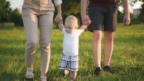 Η καλή οικογένεια διδάσκει το νήπιο στον πρώτο περίπατο στο ηλιόλουστο πάρκο απόθεμα βίντεο