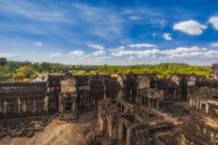 η Καμπότζη συγκεντρώνει siem Δεκέμβριος Εσωτερικό προαύλιο του ναού σύνθετου Angkor Wat κορυφαία όψη Στοκ φωτογραφία με δικαίωμα ελεύθερης χρήσης