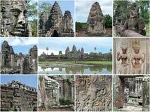 Η Καμπότζη Angkor δίνει έμφαση στο κολάζ Στοκ φωτογραφία με δικαίωμα ελεύθερης χρήσης