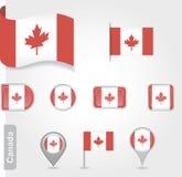 Η καναδική σημαία - σύνολο εικονιδίων και σημαιών Στοκ Φωτογραφία
