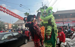 Η ΚΑΠ πηγαίνει Meh σε Klenteng Tien Kho Sie Pasar gede Στοκ Εικόνες