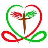 Η καρδιά είναι το χρώμα της ζωής και του αίματος, και ο φτερωτός σταυρός, απεικόνιση αποθεμάτων