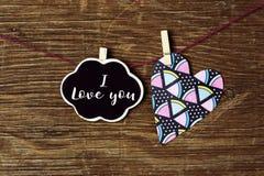 Η καρδιά και το κείμενο ι σας αγαπούν Στοκ Φωτογραφία