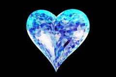 Η καρδιά σαπφείρου που απομονώνεται σε μια μαύρη τρισδιάστατη απεικόνιση υποβάθρου δίνει Στοκ Εικόνες