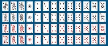 Η καρδιά συλλογής γεφυρών καρτών παιχνιδιού, φτυάρια, διαμάντι, λέσχη, πλακατζής ληστεύει το ύφος απεικόνιση αποθεμάτων
