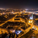 Η καρδιά της πόλης τή νύχτα Στοκ Εικόνες