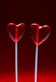 η καρδιά lollipops διαμόρφωσε το βαλεντίνο δύο Στοκ Εικόνες