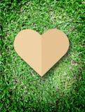 Η καρδιά εκμετάλλευσης χεριών αγαπά το υπόβαθρο χλόης συμβόλων φύσης Στοκ Φωτογραφία