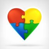 Η καρδιά διαμόρφωσε τέσσερα κομμάτια γρίφων ως δημιουργικό γραφικό σχέδιο λύσης Στοκ φωτογραφία με δικαίωμα ελεύθερης χρήσης