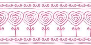 Η καρδιά διαμόρφωσε τα λουλούδια, doodle άνευ ραφής σχέδιο για τα σύνορα, δαντέλλα, διανυσματική απεικόνιση διανυσματική απεικόνιση