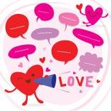 Η καρδιά μιλά την αγάπη στο χαριτωμένο διάνυσμα κινούμενων σχεδίων αγαπημένων Στοκ Φωτογραφίες