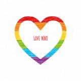 Η καρδιά ουράνιων τόξων, αγάπη κερδίζει την επιγραφή Σχέδιο μολυβιών σκίτσων Στοκ Εικόνα