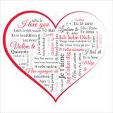 Η καρδιά περιέχει τη φράση σ' αγαπώ σε πολλές γλώσσες Λέξη CLOUD Στοκ Εικόνες