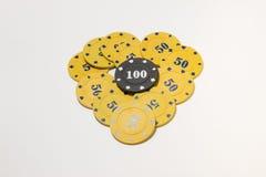 Η καρδιά των τσιπ πόκερ Στοκ Εικόνα