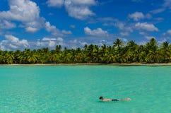 Η κατάδυση, βουτά, ακτή των νησιών Καραϊβικής Στοκ Φωτογραφίες